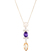 Mixed Gemstone Drop Necklace Aquamarine Amethyst Diamond Vintage 14 Karat Yellow Gold