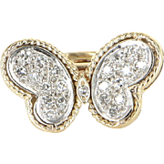 Diamond Butterfly Ring Vintage 14 Karat Yellow Gold Estate Fine Jewelry Pre Owned