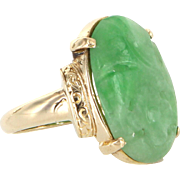 Carved Jade Flower Cocktail Ring Vintage 14 Karat Yellow Gold Estate Fine Jewelry 8
