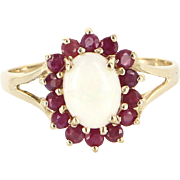 Opal Ruby Princess Cocktail Ring Vintage 14 Karat Yellow Gold Estate Pre Owned Fine