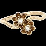 Antique Victorian 2 Stone Rose Diamond Me & You Ring 14 Karat Gold Vintage Jewelry 7