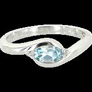 Blue Topaz Diamond Sz 7 Stacking Ring Estate 10 Karat White Gold Pre Owned Jewelry