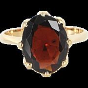 Garnet Solitaire Crown Ring Vintage 18 Karat Gold Estate Fine Jewelry Heirloom 7.5