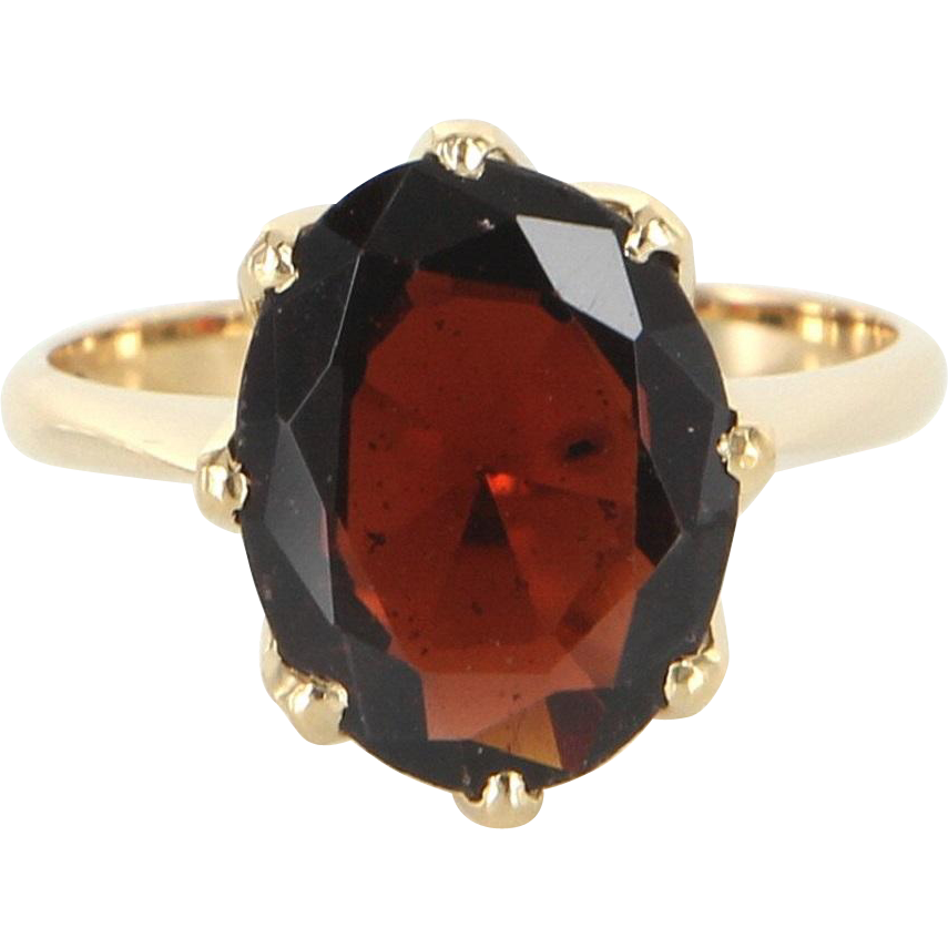 Garnet Solitaire Crown Ring Vintage 18 Karat Gold Estate Fine Jewelry Heirloom 7.5