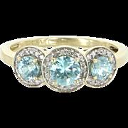 Three Stone Blue Zircon Diamond Ring Vintage 14 Karat Gold Estate Fine Jewelry