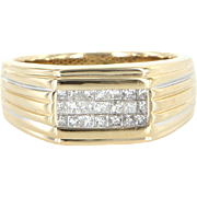 Mens 1.05ct Diamond Band Ring Vintage 14 Karat Yellow Gold Pre Owned Jewelry 10.25