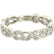 Diamond Flower Band Sz 7 14 Karat White Gold Estate Pre Owned Fine Jewelry