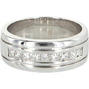 Mens 1.62ct Diamond Band Vintage 18 Karat White Gold Ring Estate Fine Jewelry 10.25