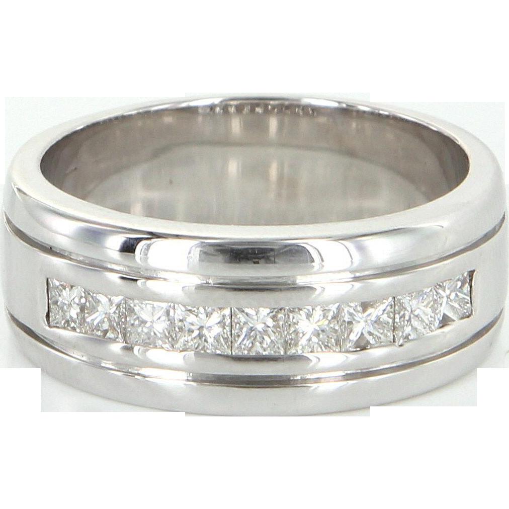 Mens 1.62ct Diamond Band Vintage 18 Karat White Gold Ring Estate Fine Jewelry 10.25