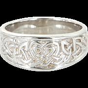 Celtic Knot Wedding Ring Mens Vintage 14 Karat White Gold Estate Pre Owned Jewelry
