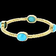 Turquoise Bangle Bracelet Vintage 14 Karat Yellow Gold Estate Fine Jewelry Pre Owned