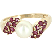 Ruby Cultured Pearl Cocktail Ring Vintage 14 Karat Yellow Gold Estate Fine Jewelry
