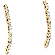 Diamond Long Shrimp Drop Earrings Vintage 14 Karat Yellow Gold Estate Fine Jewelry