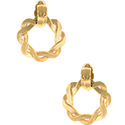 Chanel Vintage Round Braided Clip Earrings Yellow Gold Tone Estate Jewelry