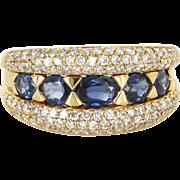 Sapphire Diamond Anniversary Band Ring Vintage 14 Karat Gold Estate Fine Jewelry 9