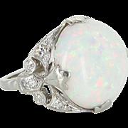23ct Natural Opal Diamond 900 Platinum Vintage Cocktail Ring Estate Fine Jewelry 6