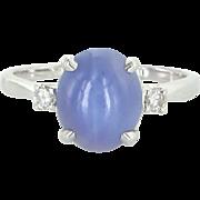 Natural Star Sapphire Diamond Cocktail Ring Vintage 14 Karat White Gold Estate Fine