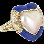 Heart Cocktail Ring Vintage Lapis Diamond Mabe Pearl 14 Karat Gold Estate Jewelry