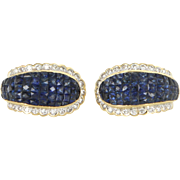 Invisible Set French Cut Sapphire Diamond Earrings Vintage 18 Karat Gold Fine Jewelry
