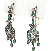 Vintage Art Deco Diamond Emerald Fringe Earrings Vintage 14k Gold 900 Platinum Jewelry