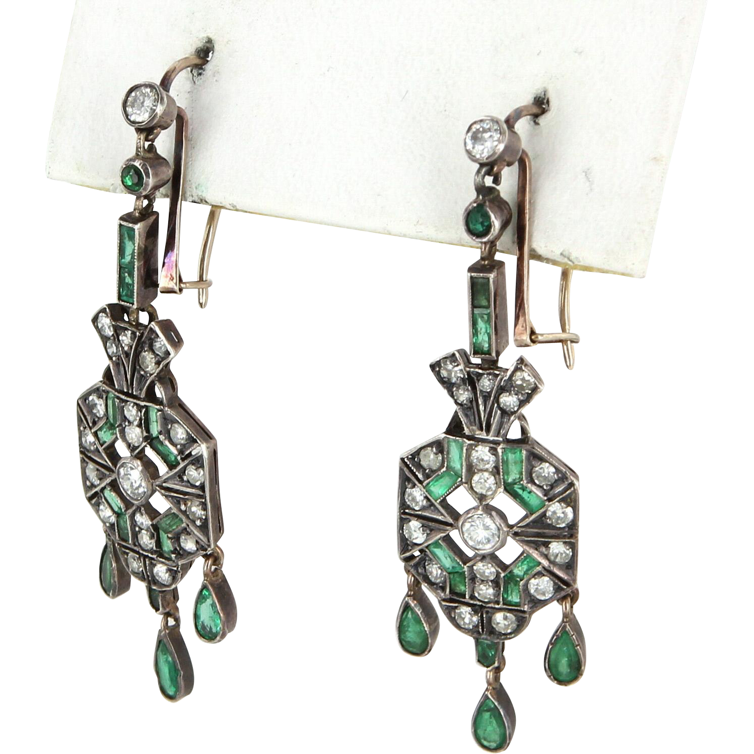 Vintage Art Deco Diamond Emerald Fringe Earrings Vintage 14k Gold 900 Platinum Jewelry