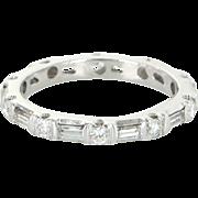 Mixed Cut Diamond Sz 6 Eternity Stack Ring Vintage 14 Karat Gold Estate Fine Jewelry