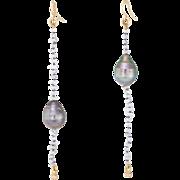L Frank Long Baroque Pearl Drop Earrings Estate 18 Karat Yellow Gold Fine Jewelry