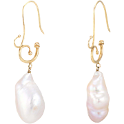 Daniel Gibbings Large Baroque Pearl Drop Earrings 18 Karat Gold Estate Jewelry