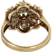 Opal Cluster Cocktail Ring Vintage 10 Karat Yellow Gold Estate Fine Jewelry