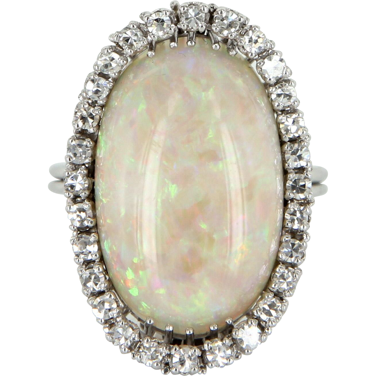 Natural Opal Diamond Cocktail Ring Vintage 18 Karat White Gold Estate Fine Jewelry