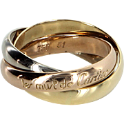 les must de Cartier 3.5mm Trinity Rolling Ring Vintage 18 Karat Tri Gold US 5 3/4 51