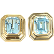 Blue Topaz Square Earrings Vintage 14 Karat Yellow Gold Estate Fine Jewelry Pre Owned