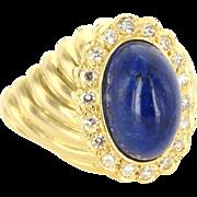 French Lapis Lazuli Diamond Cocktail Ring Vintage 18 Karat Yellow Gold Estate Jewelry