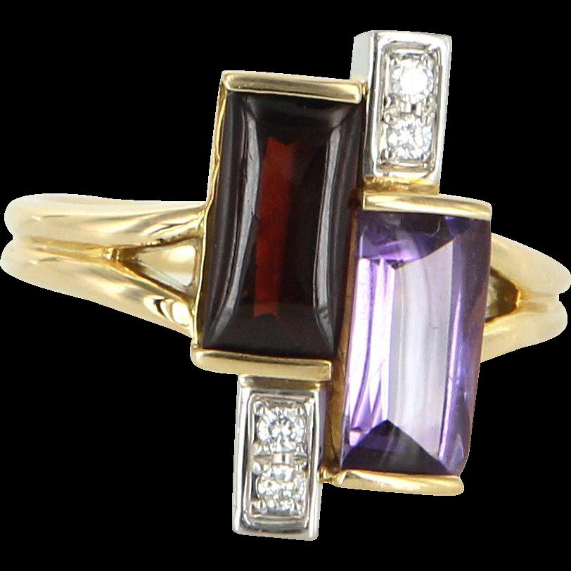 Amethyst Garnet Diamond Geometric Cocktail Ring Vintage 18 Karat Gold 900 Platinum Estate Jewelry