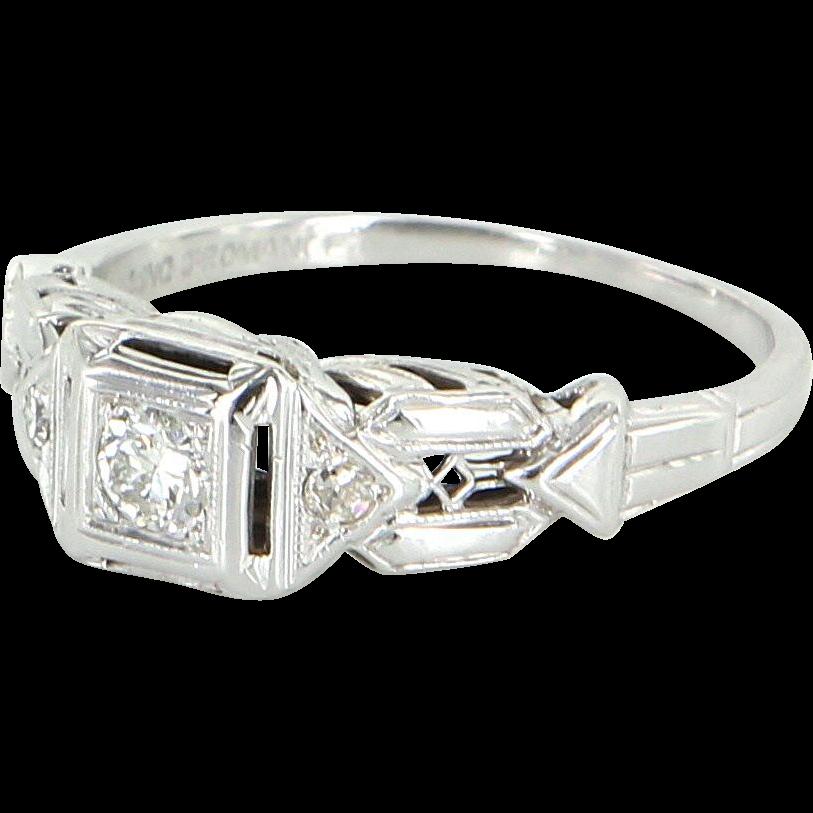 Vintage Art Deco Diamond Ring 18 Karat White Gold Vintage Fine Jewelry Heirloom Sz 7
