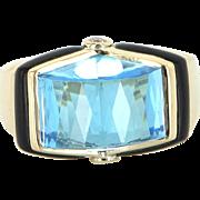 Blue Topaz Onyx Diamond Cocktail Ring Vintage 18 Karat Gold Estate Fine Jewelry