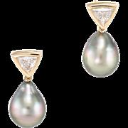 Black Tahitian Pearl Trillion Diamond Drop Earrings Vintage 14 Karat Yellow Gold