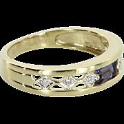 Tanzanite Diamond Band Ring Vintage 14 Karat Gold Estate Fine Jewelry Pre Owned
