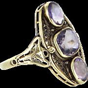 Amethyst Filigree Cocktail Ring Vintage 14 Karat Yellow Gold Estate Fine Jewelry