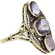 Amethyst Filigree Cocktail Ring Vintage 14 Karat Yellow Gold Estate Fine Jewelry