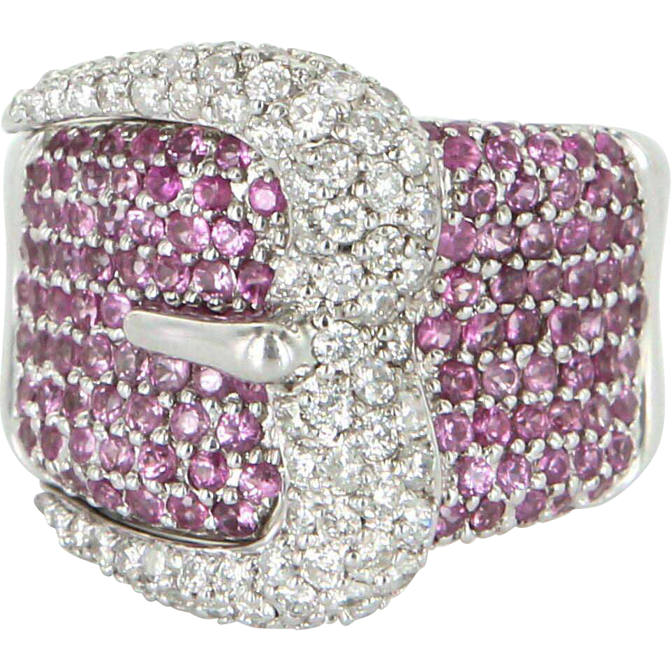 M Christoff Estate Buckle Ring Diamond Pink Sapphire 14 Karat White Gold Fine Jewelry 8.5