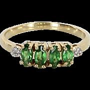 Tsavorite Garnet Diamond Band Ring Vintage 10 Karat Yellow Gold Estate Jewelry 7 1/4