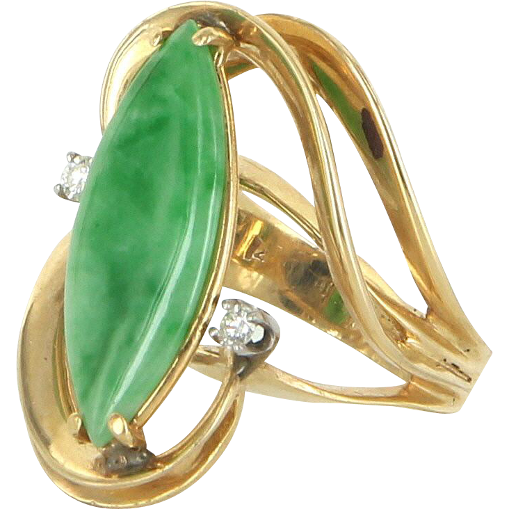 Jade Diamond Cocktail Ring Vintage 14 Karat Yellow Gold Estate Fine Jewelry Pre Owned