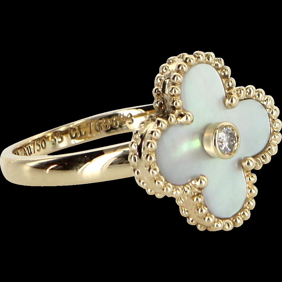 Van Cleef & Arpels Vintage Alhambra MOP Diamond Ring 18 Karat Yellow Gold Euro Sz 53 US 6 1/4