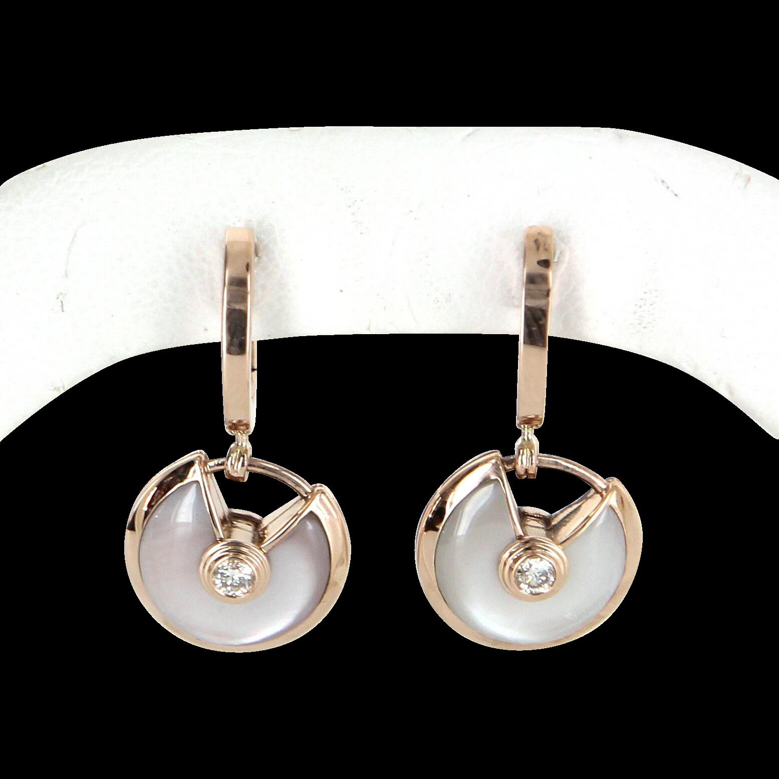 Amulette de Cartier Earrings Estate MOP Diamond 18 Karat Rose Gold Designer Jewelry