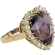 Antique Victorian Heart Amethyst Diamond Cocktail Ring Vintage 14 Karat Gold Estate