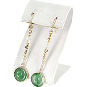 Long Jade Dangle Earrings Vintage 14 Karat Yellow Gold Estate Fine Jewelry Heirloom