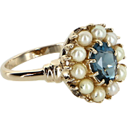 Blue Topaz Cultured Pearl Cocktail Ring Vintage 14 Karat Yellow Gold Estate Fine Jewelry