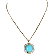 Persian Turquoise Diamond Pendant Necklace Vintage 14 Karat Gold Estate Jewelry Fine