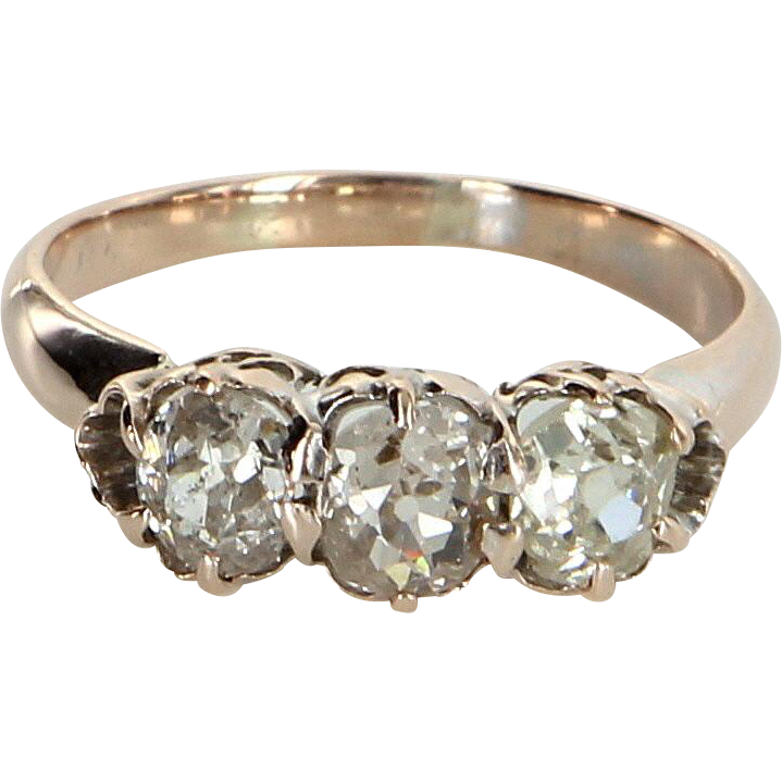 Vintage Art Deco 3 Stone Cushion Diamond 10 Karat Rose Gold Ring Vintage Fine Estate Jewelry